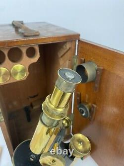 Antique compound microscope by Charles Baker of London, 1910s