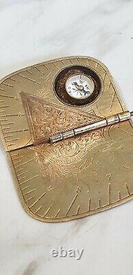 Antique folding brass pocket compass sun dial by baum & co birmingham 1875