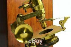 Antique lacquered brass compound microscope,'The International', circa 1910