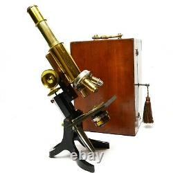 Antique lacquered brass compound microscope by James Swift of London