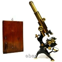Antique lacquered brass microscope, the'Royal' by Watson & Sons, London. 1920