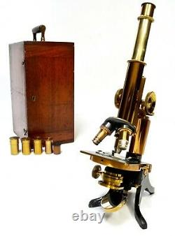 Antique microscope, Henry Crouch of London, circa 1890, great maker/fine quality