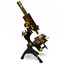 Antique microscope, Watson Edinburgh'H' Student, original case, owners handbook