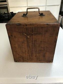 Antique microscope slide cabinet vintage storage box 12 drawers brass handle