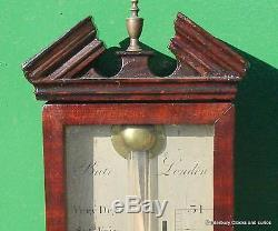 Bale London Georgian Feather Fan Mahogany Stick Barometer