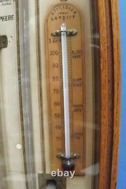 Barometer Admiral Fitzroy Barometer Weather Station Carved Oak Case