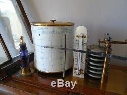 Beautiful & Top Quality Rare Antique Barograph With Thermometer Dark Oak Case
