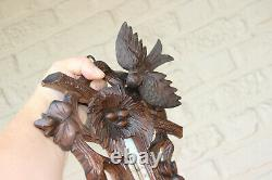 Black forest wood carved baromater bird nest butterfly insect rare