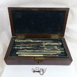 C1850 DRAWING INSTRUMENT SET early Antique mahogany BOX