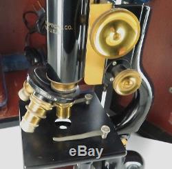 C1915 BAUSCH & LOMB OPTICAL Co, USA MONOCULAR MICROSCOPE + CASE, LIGHT ETC