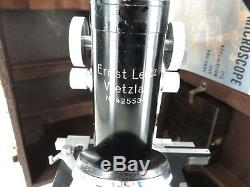 C1950 Ernst Leitz Monocular Microscope. Original Case, Light, Accessories