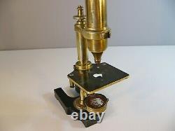 C. 1850 Nachet Paris Antique Brass Microscope & 15 Glass Slides Retailer B. Franks