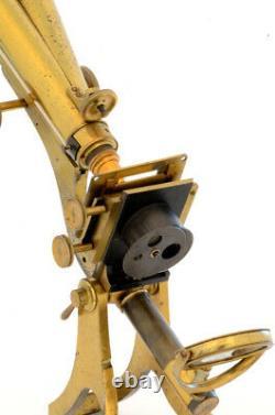 C. 19th Crouch brass binocular microscope (c. 1870)