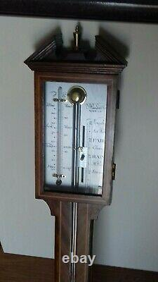Circa 1950 Russell Of Norwich Boxwood And Chevron String Wooden Stick Barometer