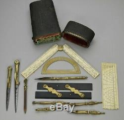 Complete set of drawing instruments in shagreen case by R. Bakewell, circa 1800