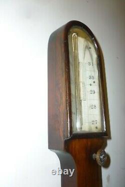 Decorative 19th Century Walnut Stick Barometer Good Working Order NO POSTAGE