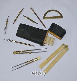 Drawing instruments etui in shark skin case W & S Jones