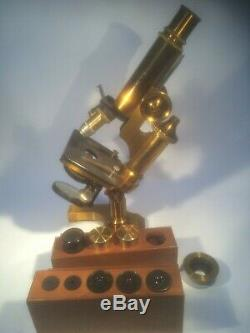 E, Leitz Wetzlar Brass Microscope in the Original Case