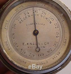 Early 20th century silver plated cased pocket barometer E KNAUS & Co WIESBADEN