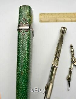 Early Silver Antique Drawing Instruments In Shagreen Case