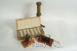 Early antique electric motor, generator, 7 Geissler tubes, Tesla instruments