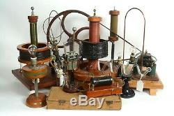 Early antique electric motor, generator, 8 Geissler tubes, Tesla instruments