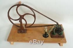Early antique electric motor, generator, 8 Geissler tubes, Tesla instruments