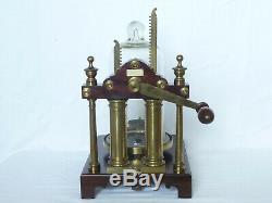 English Georgian Brass & Mahogany Demonstration Vacuum Air Pump Antique