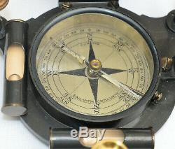 Equinoctial universal compass sundial in case J. J. Hicks, Hatton Garden