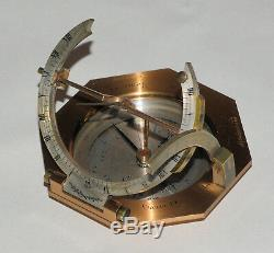 Equinoctial universal inclining sundial compass in case Abraham & Co, London