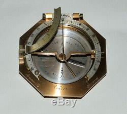Equinoctial universal inclining sundial in case Abraham & Co, London