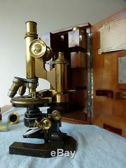 Ernst Leitz Wetzlar Antique Microscope with Wooden Case, Lenses, Slides