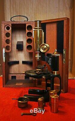 Excellent Antique Carl Zeiss Jena Microscope In Original Teak Carrier Case