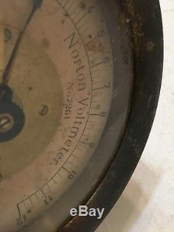 Fantastic Antique Brass Case Norton Voltmeter Gage Steampunk Zucker Levett Loeb