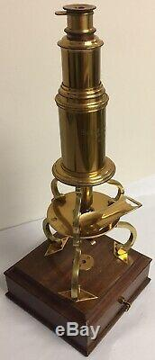 Fantastic Reproduction Of An Antique Brass Microscope By Burke & Jones Bristol