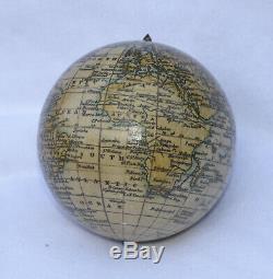 Fine 3 inch terrestrial globe in lignum vitae case Woodward