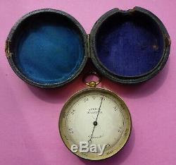 Fine Antique Pocket Barometer & Altimeter Signed Burrow Of Malvern