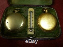 Fine Antique Pocket Cased Compendium With Barometer, Compass & Thermometer