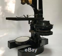 Fine Cased 1890s Baush & Lomb Rochester NY Monocular Microscope