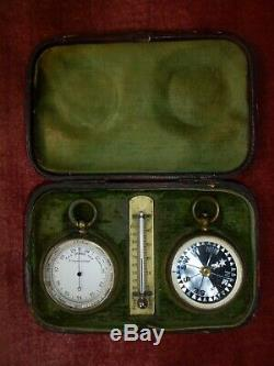 Fine Pocket Cased Compendium With Barometer, Compass & Thermometer