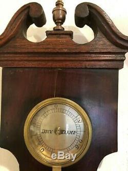 Good 19th Century Mahogany Banjo Barometer Formaly In Alderley House Gloucester