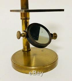 Good Antique Brass Student Field Microscope with Lenses in Original Box