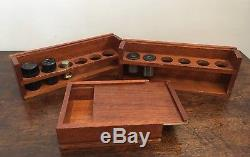 Good Antique Vintage Watson Service Microscope Lenses & Mechanical Stage in Box