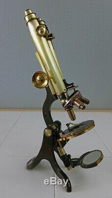 H Crouch London Antique Brass Wenham Binocular Premier Microscope Sn-1628 1878