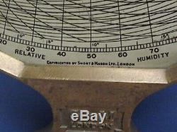 Hygrodeik Meteorology Short & Mason C1930 Wet & Dry Relative Humidity