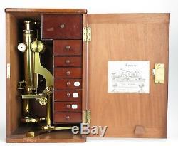 J. B. Dancer brass'true V' binocular microscope (No. 310) c1865 + accessories