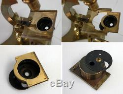 J Zentmayer Phila Antique Brass Us Army Hospital Microscope S/n-453, Circa 1870