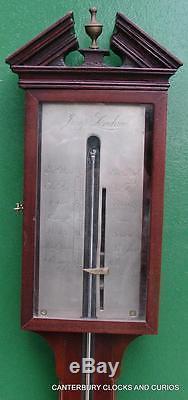 Jump London Antique Georgian Flame Mahogany Stick Barometer