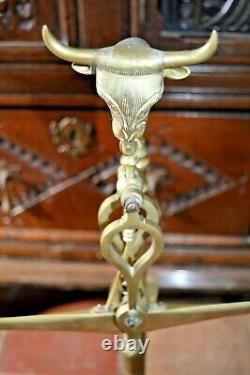 Large Antique 19th Century Spanish / Portuguese Brass Scales, Bull Finial, c1890