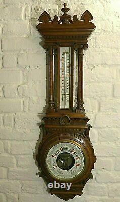Large Antique Oak Aneroid Wall Barometer Circa 1890-1900
